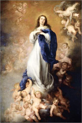 Posterlounge Cuadro de Madera 60 x 90 cm: Immaculate Conception of Mary de Bartolome Esteban Murillo