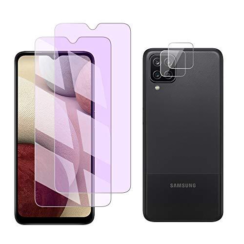 FiiMoo Vetro Temperato Compatibile con Samsung Galaxy A12/A02s, Anti Luce Blu Pellicola Protettiva/Pellicola Fotocamera [2+2 Pezzi] [Protezione degli Occhi] [Anti Bluelight] Galaxy A12/A02s