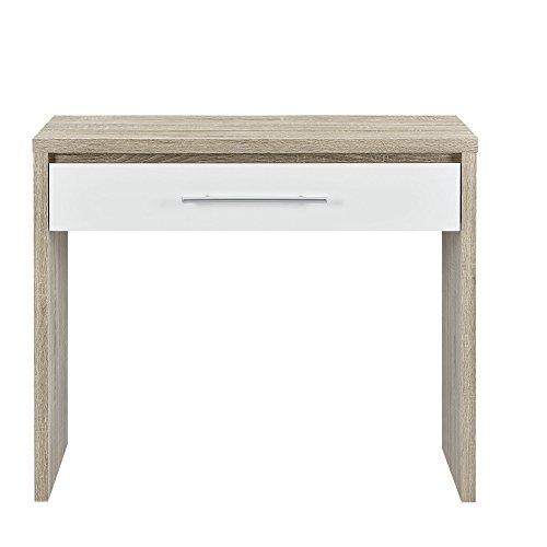 [en.casa] Schreibtisch (90 x 39 x 77 cm) furniert (Eiche) Schublade (weiß - Hochglanz - Klavierlack) Griff in Edelstahl Optik