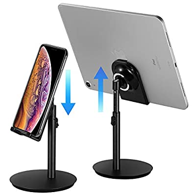 Cell Phone Stand, Tablet Holder, SAIJI Height Adjustable Aluminum Stand Mount, Compatible with iPhone, Samsung Cell Phone, Tablet, iPad, Nintendo Switch, Kindle, Up to 10 Inch Screen (Black2) by SAIJI INC