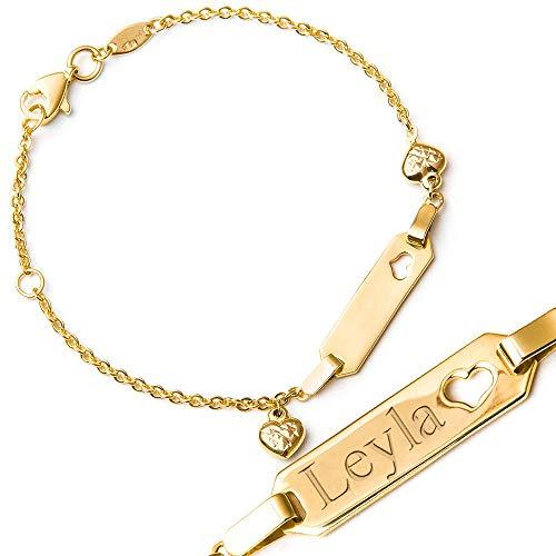 Murrano Kinder ID Armband 585 Gold mit Gravur + personalisierte Geschenkbox - mit Herz - Geschenk für Mädchen zur Geburt zur Taufe - Länge: 13-15 cm - 14 Karat
