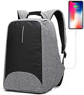 Anti-Theft Travel Backpack Hidden Zipper Bag USB Charging Port Water Resistant Business Travel Laptop Bag Student Work Men & Women Grey