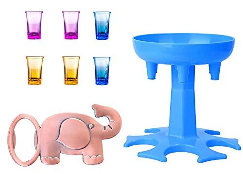 Hrbtag Dispensador de 6 Vasos de Chupito, Dispensador de Bebidas con Soporte Con 6 Vasos Transparentes de Colores y un Sacacorchos Licor Carrier Caddy para Llenar Líquidos, Juegos para Beber (Azul)