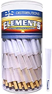 Elements Cones 1 1/4 Size   150 Pack   Natural Pre Rolled Rice Rolling Paper with Tips and Packing Sticks Included