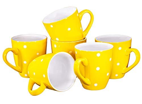 Polka Dot Coffee Mug Set Set of 6 Large-sized 16 Ounce Ceramic Coffee Mugs Restaurant Coffee Mugs,...