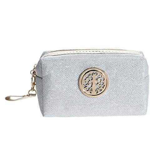 N-brand PULABO durableGlitter Bling Makeup Bag Cosmetic Pouch Bags Pencil Case Clutch Bag Storage Organiser for Women and Girls Silver Stylish and Popular