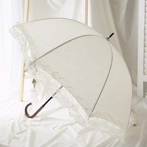 ZJJJD Retro Spitze Sonnenschirm Regenschirm, Leichter Kompakter Weißer Regenschirm Mit J-förmigem Griff, Geeignet Für Frauen, Winddichter Und Sonnenschutzschirm Für Hochzeitsgeschenke Im Regenschirm