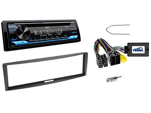 NIQ Autoradio Einbauset geeignet für Renault Clio | Megane | Modus inkl. JVC KD-T716BT & Lenkrad Fernbedienung Adapter in Schwarz