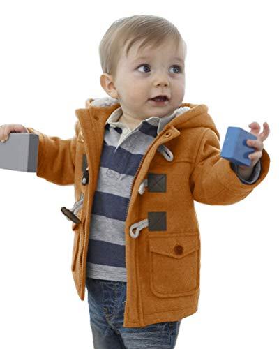 Onsoyours Baby Jungen Jacke Winter Mantel Kapuzen Winterjacke Mantel Fleecejacke Mädchen Warm Outwear Trenchcoat Braun 3-9 Monate