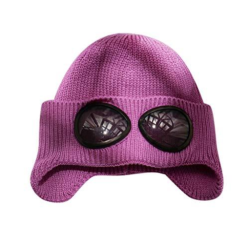 Damen Herren Pilot Strickmütze Hut Herbst und Winter warme Mode Wollmütze sowie Samt warme Ohrenschützer kalte Kappe CICIYONER