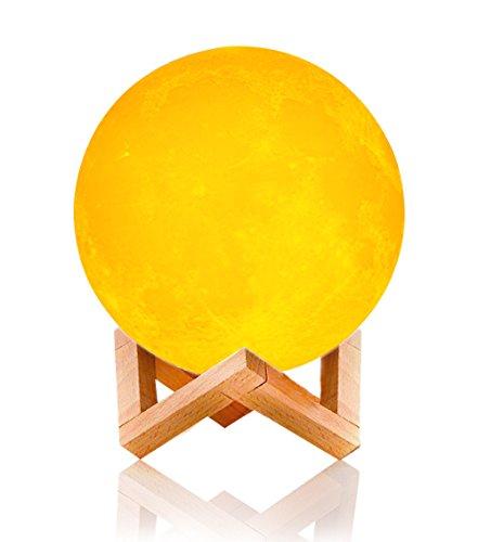 Veilleuse de Chevet, Lins 3D Moon Lampe de USB Rechargeable Lune LED Nuit,Contrôle Tactile/2 Différents Couleurs ,Couleur et Luminosité Ajustables, Cadeau pour un Anniversaire Noël diamètre 12cm
