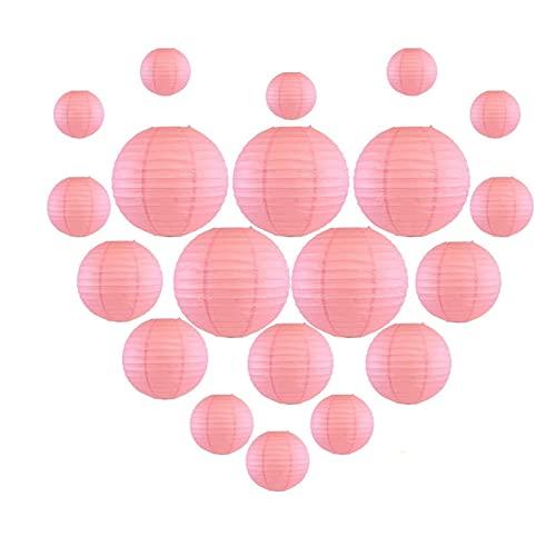 CAIFEIYU 20 PCS 6'-12' Linterna de Papel Rosa Linterna de Papel japonés Chino Linternas para la Fiesta de Bodas Navidad al Aire Libre Colgando DIY Decor Favor