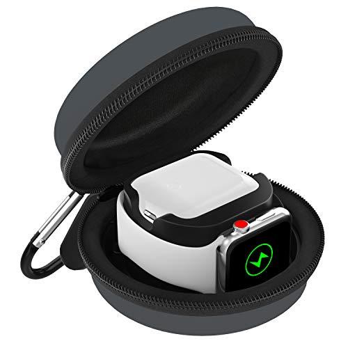 MoKo Ladetasche Kompatibel mit Apple Watch Series 5/4/3/2/1 & Airpods, Tragtasche Reisetasche Schutzbox mit Karabiner, Aufbewahrung Ladestation Ständer Halterung - Space Grau