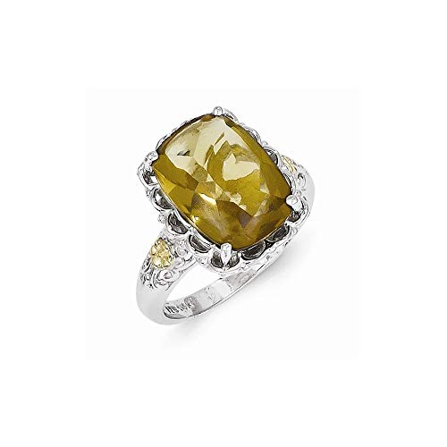 925 Sterling Silver Polished Prong set With 14ct Whiskey Quartz Ring Size N 1/2 Jewelry Gifts for Women