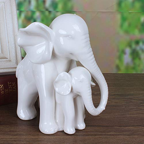 White Porcelain Mother and Baby Elephant Statue Ceramic Elephant Figurine Home Decor Gift
