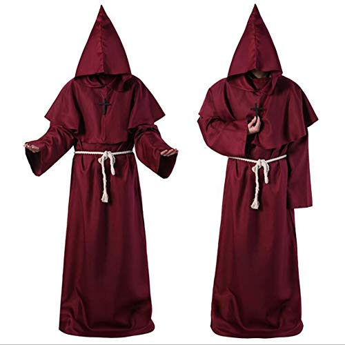 XIONGDA Disfraz de Cosplay de Halloween Traje de Monje de Traje Fraile Medieval Monje con Capucha Traje de Sacerdote renacentista Disfraz de Halloween Disfraz Cristiano,Rojo,M