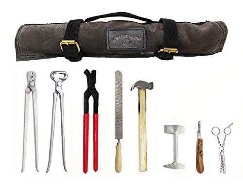 ProRider USA 8 Piece Horse Shoe Farrier Hoof Grooming Tool Kit w/Carry Bag Black 98475