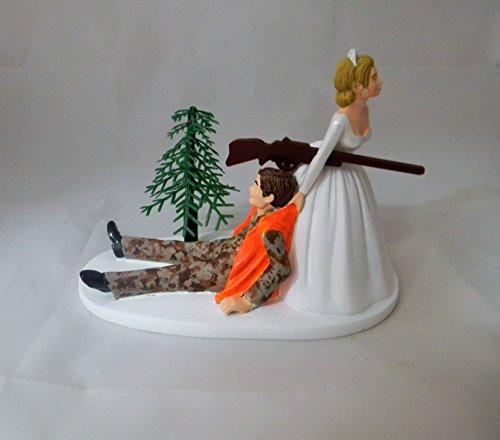 Wedding Reception Camo Orange Vest Hunter Hunting Cake Topper