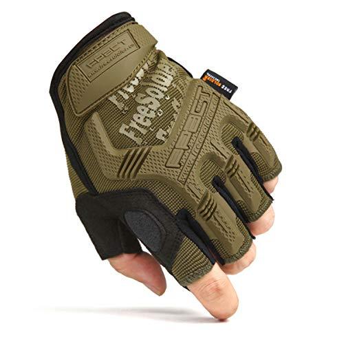FREE SOLDIER Sport Handschuhe Taktische Motorradhandschuhe Herren Halbfinger Handschuhe mit gepolstertem Ideal für Fahrrad Airsoft Militär Paintball Kletter und andere Outdoor Aktivitäten Braun XL