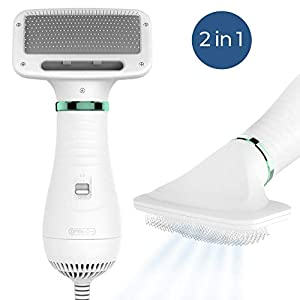 KUUBIA Pet Hair Dryer – Portable and Quiet 2 in 1 Pet Grooming Hair Dryer Blower with Slicker Brush – Adjustable Temperature – for Small and Medium Dogs and Cats