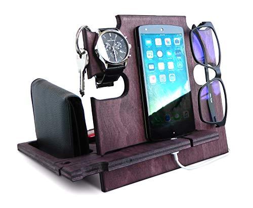 Docking station in legno per uomini, supporto per smartphone, organizer da scrivania in palissandro, idea di comodino per lui