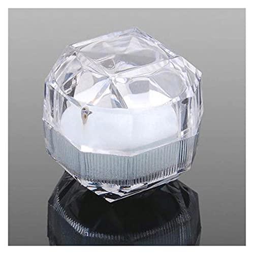 JIEERCUN Cajas de joyería de cristal acrílico transparentes anillos pendientes de exhibición y cajas de embalaje, caja de almacenamiento de joyería cajas de joyería (color: blanco)