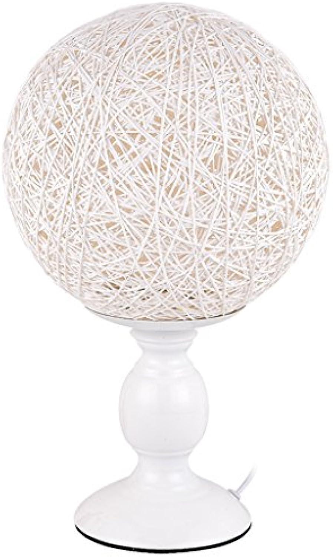 Kreative Stricken Ma Ball Runde Dimmbare Ma ball tischlampe, moderne Schlafzimmer Nacht Rattan kunst Lesen Lernen Holztisch Lampe (wei) HUACANG (Farbe   Dimming switch)