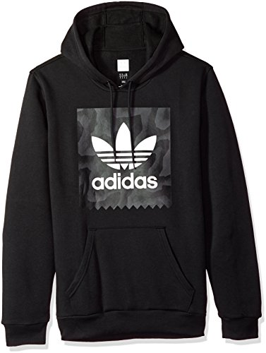 adidas Originals Men's Skateboarding Blackbird Warp Print Hoodie, black/dark solid grey, S