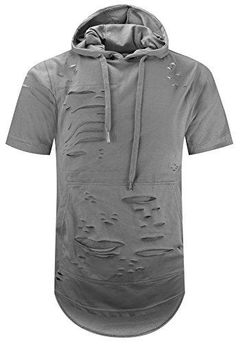 ALMAS APPAREL Mens Hip Hop Premium Fleece Hoodie – Pullover Short Sleeves Fashion Hoody (Large, Grey-793)