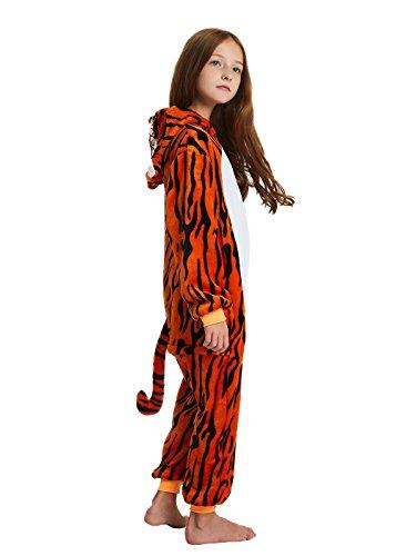 ABENCA Fleece Kids Tiger Onesie Pajamas Christmas Halloween Animal Cosplay Sleepwear Costume.Tiger.140 Red