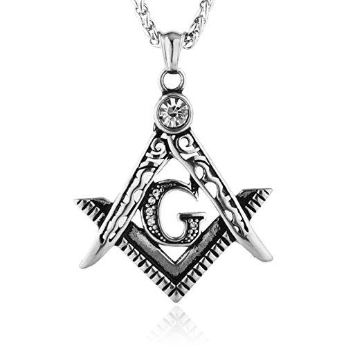 HZMAN Mens Cubic Zirconia Freemason Symbol Masonic Stainless Steel Pendant Necklace 22+2 inch Chain (Silver)
