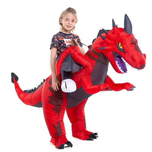 Inflatable Dragon Costume Kids Boys Girls, Inflatable Blow Up Costume Riding Dragon Costume Child, Inflatable Ride On Dragon Halloween Costume Children
