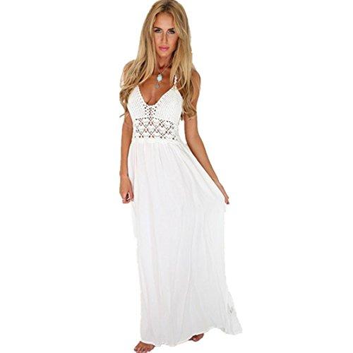 Lilicat Damen ärmellos Elegant Neckholder Maxi Chic Kleid Frauen Sommer Bekleidung Böhmen Lange Abend Kleid Partykleid Häkeln Rückenfrei Strandkleid Sundress (M, Weiß)