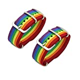 Joyid - 2 pulseras de arcoíris LGBT Pride Gay con hebilla de nailon ajustable...