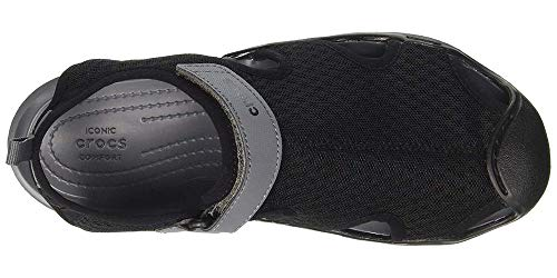 Crocs Women's Swiftwater Mesh Sandal Flat, Black, 8 M US