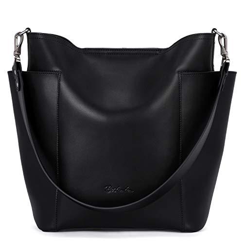 BOSTANTEN Genuine Leather Handbag Designer Hobo Shoulder Bucket Bags Tote Purses and Handbags Set with Clutch Purses Black