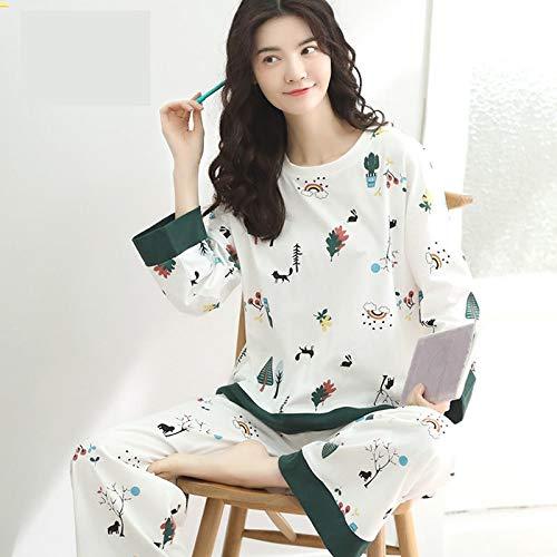 sjzwt M-5xl Talla Grande 100% algodón Pijamas Pijamas Corto Pijamas Conjunto para Mujeres Ropa de Dormir de Verano Ropa de hogar 100kg (Color : White Long, Size : 5XL(90 105KG))