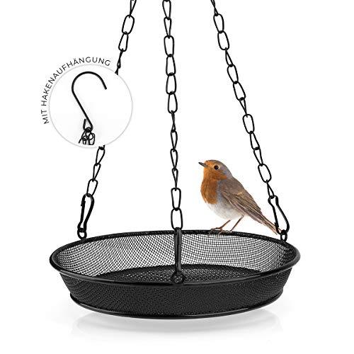 WILDLIFE FRIEND Futterspender für Mehlwürmer zum Aufhängen - Futtersäule für Vögel, Metall Futterstation zur ganzjährigen Wildvögel Fütterung, Futterschale aus Metall