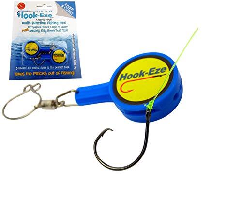 Hook-Eze Angelwerkzeug (blau) zum Binden und Sichern und Schnurschneider – Abdeckhaken an 2 Stangen und Reisen sicher vollständig aufgerüstet Multifunktionales Angelgerät