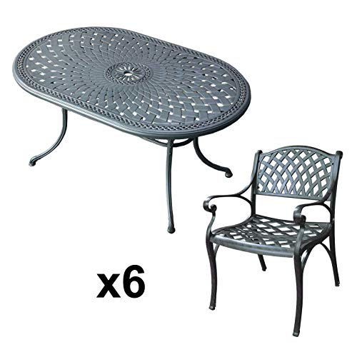 Lazy Susan June 4 Seater Oval Sand-cast Aluminium Garden Furniture Set, Maintenance-free, Weatherproof, Slate Finish, Matching Kate Chairs, Cushions Not Included