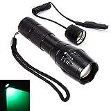 Linterna LED de luz verde con zoom ajustable linterna recargable con interruptor de presión para actividades al aire libre de caza táctica pesca (linterna de haz verde)