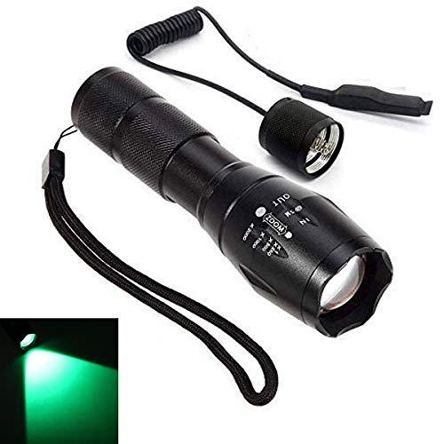 Linterna LED de luz verde con zoom ajustable linterna recargable con interruptor...