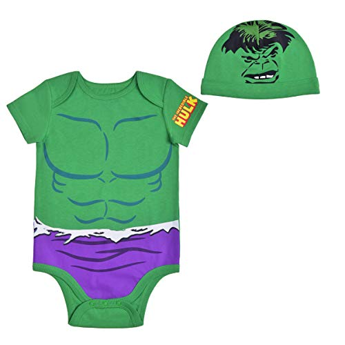 Avengers Short Sleeve Onesie with Cap, Hulk Bodysuit, Baby Costume Romper Set, Green, Size 24M