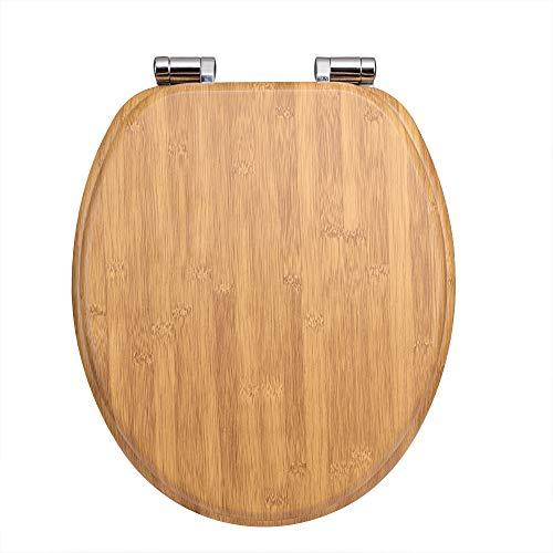 Casaria WC Sitz Toilettendeckel mit Absenkautomatik Bambus Toilettensitz MDF Holz rostfreie Metall Scharniere Holz Klobrille