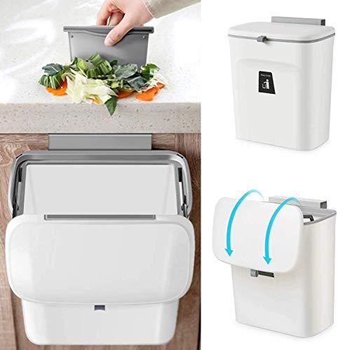 Pilito - Basura colgante para puerta de armario de cocina con tapa, 2,4 galones, pequeña basura debajo del fregadero para baño, cubo...