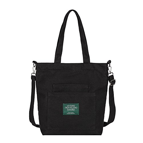 TUDUZ Damen Canvas Tasche Umhängetasche Crossbody Handtasche Leinentasche Shopper Einkaufsbeutel Einfarbig Mehrfach Tasche(Schwarz)
