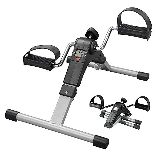 CAMORSA Under Desk Bike Pedal Exerciser for Legs and Arms, Portable Mini Exercise Peddler Adjustable Resistance Multifunctional LCD Display (Black Simple Type)