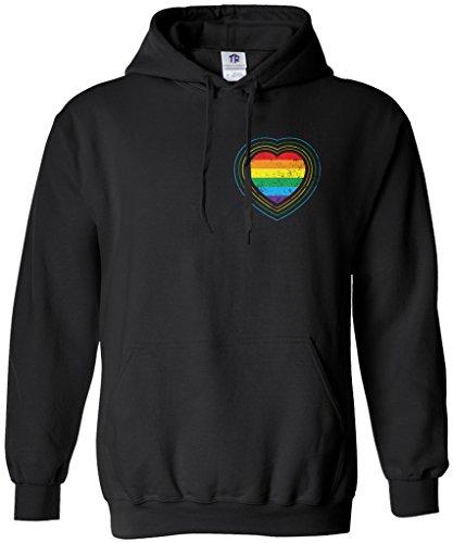 Threadrock Women's Gay Pride Rainbow Heart Hoodie Sweatshirt M Black