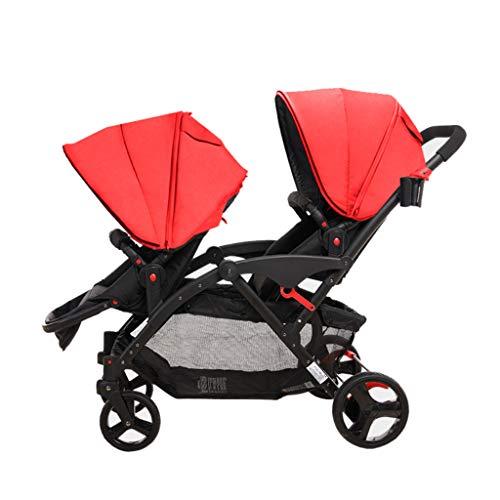 La poussette jumelée de jumeaux de connexion de poussette de lien peut le choc peut être fendue deux pneus double système de voyage de chariot (Color : Red)