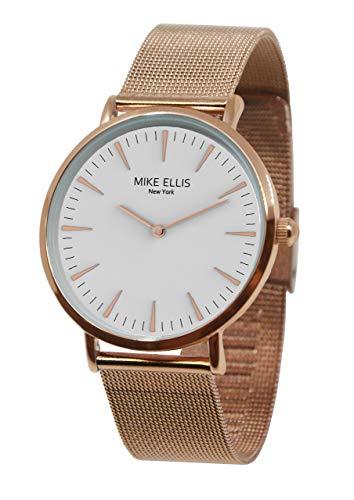 Mike Ellis New York Damen Armbanduhr Ø 38mm Rosegold mit weißem Zifferblatt